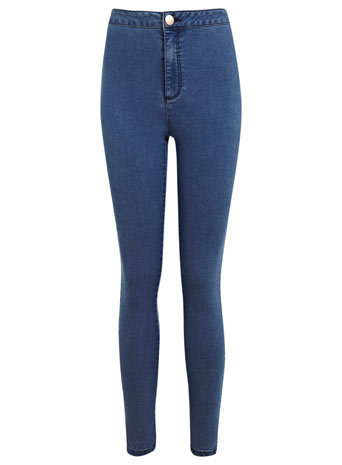 Blue Super High Waist Jean - style: skinny leg; length: standard; pattern: plain; waist: high rise; pocket detail: traditional 5 pocket; predominant colour: royal blue; occasions: casual, evening; fibres: cotton - stretch; texture group: denim; pattern type: fabric; season: s/s 2014