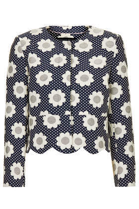 Petite Flower Power Jacket - collar: round collar/collarless; style: boxy; secondary colour: white; predominant colour: navy; occasions: casual, evening, creative work; fit: straight cut (boxy); fibres: cotton - mix; sleeve length: long sleeve; sleeve style: standard; collar break: high; pattern type: fabric; pattern size: standard; pattern: florals; texture group: brocade/jacquard; trends: furious florals; season: s/s 2014; length: cropped