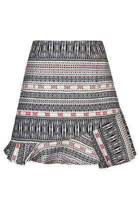 Asymmetric Hem Jacquard Skirt - length: mini; fit: tailored/fitted; waist: high rise; secondary colour: true red; predominant colour: black; occasions: casual, evening, creative work; style: fit & flare; fibres: polyester/polyamide - 100%; pattern type: fabric; pattern: patterned/print; texture group: brocade/jacquard; trends: world traveller, art-party prints; season: s/s 2014; pattern size: big & busy (bottom)