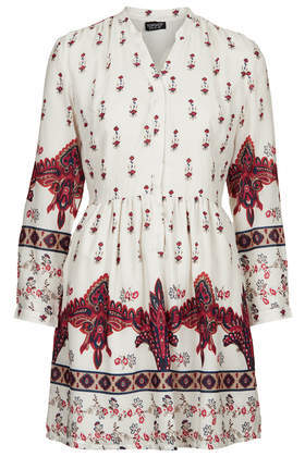 Morrocon Border Print Dress - length: mid thigh; predominant colour: ivory/cream; secondary colour: true red; occasions: casual; fit: soft a-line; style: fit & flare; neckline: collarstand; hip detail: soft pleats at hip/draping at hip/flared at hip; sleeve length: 3/4 length; sleeve style: standard; texture group: cotton feel fabrics; pattern type: fabric; pattern size: big & busy; pattern: patterned/print; fibres: viscose/rayon - mix; trends: world traveller; season: s/s 2014
