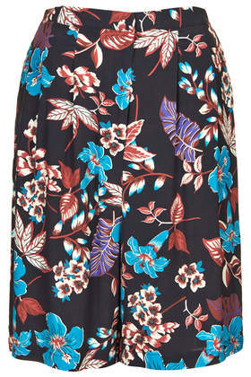 Longline Tropical Print Shorts - waist: high rise; occasions: casual, holiday, creative work; fibres: viscose/rayon - 100%; predominant colour: multicoloured; pattern type: fabric; pattern: florals; texture group: woven light midweight; season: s/s 2014; pattern size: standard (bottom); multicoloured: multicoloured; style: culotte; length: just above the knee; fit: a-line