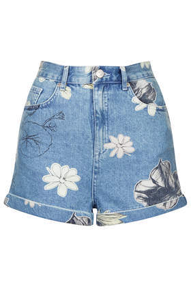 Moto Bleach Floral Mom Shorts - pocket detail: traditional 5 pocket; waist: mid/regular rise; predominant colour: denim; occasions: casual, holiday; fibres: cotton - 100%; texture group: denim; pattern type: fabric; pattern: florals; season: s/s 2014; pattern size: light/subtle (bottom); style: denim; length: short shorts; fit: slim leg