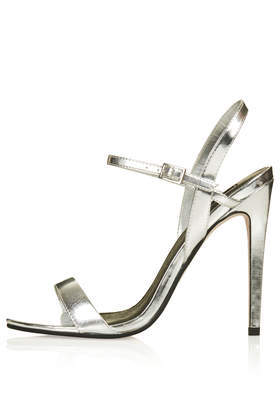 Rolo Skinny Strappy Sandals - predominant colour: silver; occasions: evening, occasion; material: faux leather; ankle detail: ankle strap; heel: stiletto; toe: open toe/peeptoe; style: standard; finish: metallic; pattern: plain; heel height: very high; season: s/s 2014