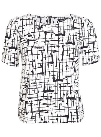 Monochrome Scratch Print Tee - neckline: round neck; style: t-shirt; predominant colour: white; secondary colour: black; occasions: casual; length: standard; fibres: polyester/polyamide - stretch; fit: body skimming; sleeve length: short sleeve; sleeve style: standard; pattern type: fabric; pattern: patterned/print; texture group: jersey - stretchy/drapey; season: s/s 2014; trends: monochrome