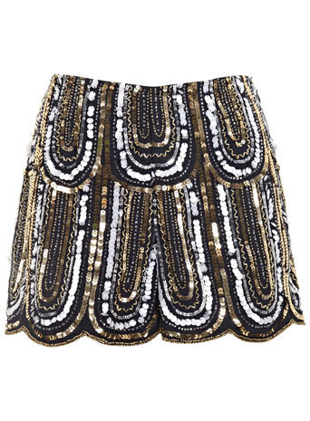 1920s Embellished Deco Short - pattern: plain; waist: mid/regular rise; secondary colour: blush; predominant colour: chocolate brown; occasions: evening; fibres: polyester/polyamide - 100%; pattern type: fabric; texture group: other - light to midweight; embellishment: sequins; season: s/s 2014; style: shorts; length: short shorts; fit: slim leg