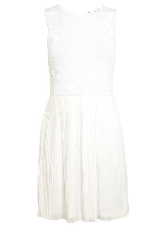 White Lace Plisse Dress - length: mid thigh; pattern: plain; sleeve style: sleeveless; predominant colour: white; occasions: evening, occasion; fit: fitted at waist & bust; style: fit & flare; fibres: cotton - mix; neckline: crew; hip detail: adds bulk at the hips; back detail: keyhole/peephole detail at back; sleeve length: sleeveless; texture group: sheer fabrics/chiffon/organza etc.; pattern type: fabric; embellishment: lace; season: s/s 2014; wardrobe: event; embellishment location: top