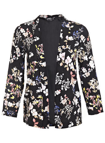 Petites Dark Floral Jacket - style: single breasted blazer; collar: standard lapel/rever collar; secondary colour: stone; predominant colour: black; length: standard; fit: tailored/fitted; fibres: polyester/polyamide - 100%; sleeve length: long sleeve; sleeve style: standard; collar break: low/open; pattern type: fabric; pattern size: standard; pattern: florals; texture group: woven light midweight; occasions: creative work; season: s/s 2014