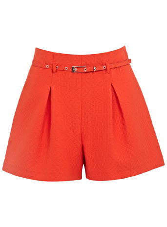 Red Textured Belted Short - pattern: plain; waist: high rise; waist detail: belted waist/tie at waist/drawstring; predominant colour: coral; occasions: casual, evening; fibres: polyester/polyamide - stretch; hip detail: subtle/flattering hip detail; pattern type: fabric; texture group: woven light midweight; season: s/s 2014; style: shorts; length: short shorts; fit: a-line