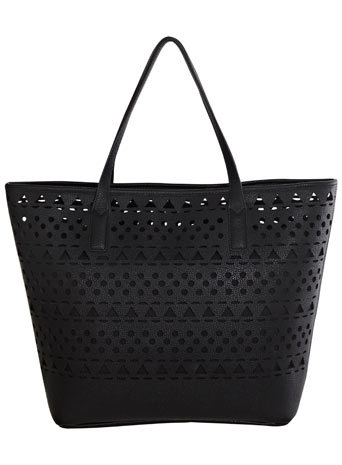Black Laser Cut Tote - predominant colour: black; occasions: casual, creative work; style: tote; length: handle; size: standard; material: leather; pattern: plain; finish: plain; season: s/s 2014