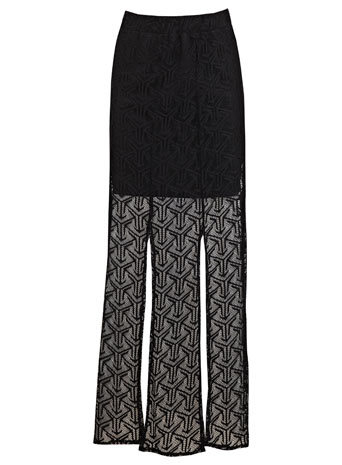 Black Lace Multi Split Maxi - fit: body skimming; waist: mid/regular rise; predominant colour: black; occasions: casual, evening, holiday; length: floor length; style: maxi skirt; fibres: polyester/polyamide - 100%; texture group: lace; pattern type: fabric; pattern: patterned/print; embellishment: lace; trends: lace; season: s/s 2014