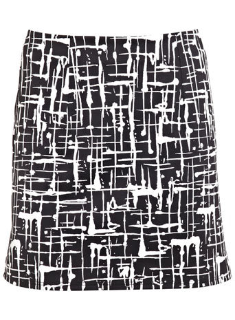 Black Scratch Print Mini Skirt - length: mini; fit: body skimming; waist: high rise; secondary colour: white; predominant colour: black; occasions: casual; style: mini skirt; fibres: polyester/polyamide - stretch; texture group: crepes; pattern type: fabric; pattern: patterned/print; trends: art-party prints, monochrome; season: s/s 2014; pattern size: big & busy (bottom)