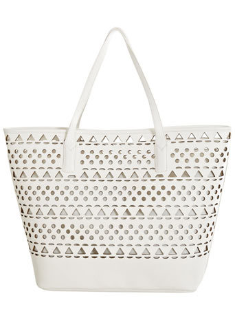 White Laser Cut Tote - predominant colour: white; occasions: casual, creative work; style: tote; length: handle; size: oversized; material: faux leather; pattern: plain; finish: plain; season: s/s 2014