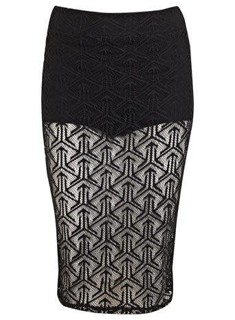 Black Geo Lace Pencil Skirt - style: pencil; fit: tight; waist: mid/regular rise; predominant colour: black; occasions: evening, occasion; length: on the knee; fibres: polyester/polyamide - stretch; texture group: lace; pattern type: fabric; pattern: patterned/print; embellishment: lace; trends: lace; season: s/s 2014
