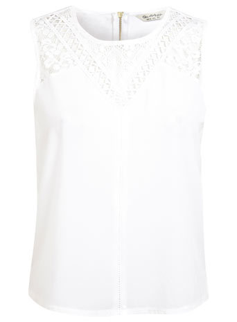 Lace And Woven Front Top - pattern: plain; sleeve style: sleeveless; predominant colour: white; occasions: casual, creative work; length: standard; style: top; fibres: polyester/polyamide - mix; fit: straight cut; neckline: crew; sleeve length: sleeveless; pattern type: fabric; texture group: jersey - stretchy/drapey; season: s/s 2014; embellishment: contrast fabric; embellishment location: shoulder