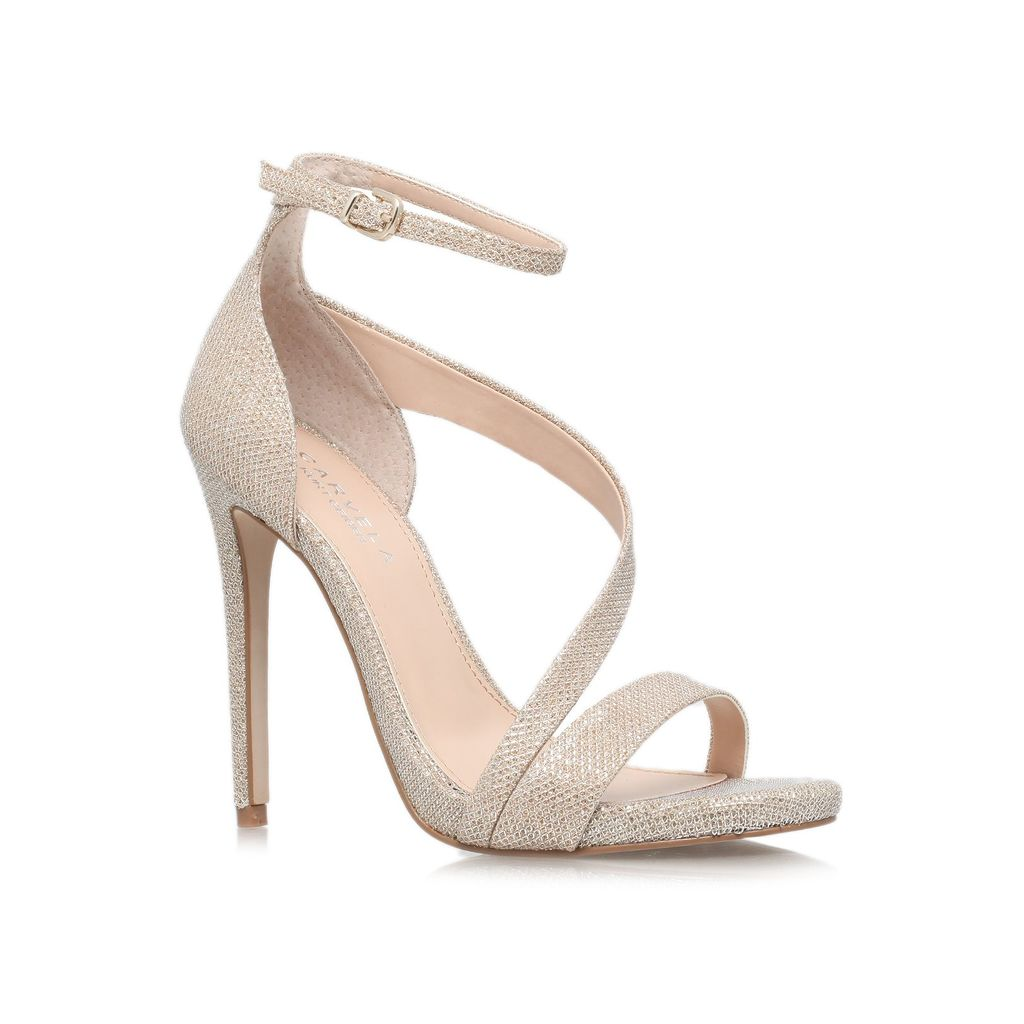 Gosh High Heel Sandals, Gold - predominant colour: nude; occasions: evening, occasion; material: faux leather; embellishment: glitter; ankle detail: ankle strap; heel: stiletto; toe: open toe/peeptoe; style: standard; finish: metallic; pattern: plain; heel height: very high; season: s/s 2014
