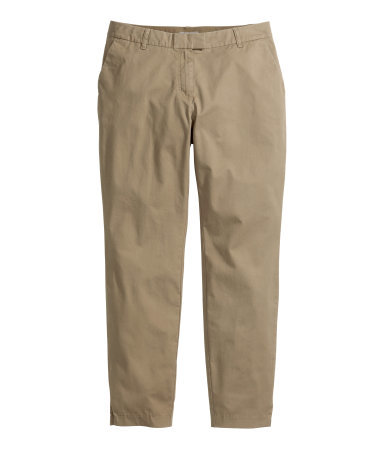 + Chinos - pattern: plain; pocket detail: small back pockets, pockets at the sides; waist: low rise; predominant colour: stone; occasions: casual, holiday, creative work; length: ankle length; style: chino; fibres: cotton - stretch; waist detail: feature waist detail; texture group: cotton feel fabrics; fit: slim leg; pattern type: fabric; season: s/s 2014