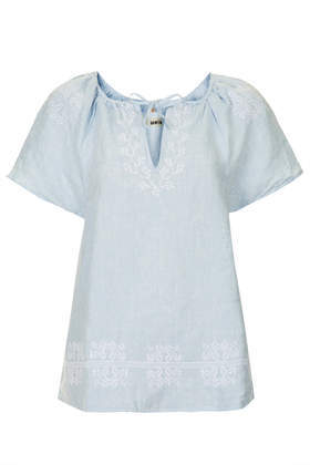 Moto Embroidered Smock Top - neckline: round neck; sleeve style: dolman/batwing; pattern: plain; style: smock; predominant colour: pale blue; occasions: casual, creative work; length: standard; fibres: linen - 100%; fit: loose; sleeve length: short sleeve; texture group: linen; pattern type: fabric; embellishment: embroidered; trends: sorbet shades; season: s/s 2014