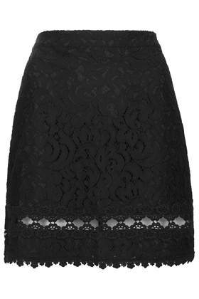 Petite Lace Trim A Line Skirt - length: mid thigh; fit: loose/voluminous; waist: mid/regular rise; predominant colour: black; occasions: casual, evening, creative work; style: a-line; fibres: cotton - mix; texture group: lace; pattern type: fabric; pattern: patterned/print; embellishment: lace; trends: lace; season: s/s 2014; pattern size: standard (bottom)