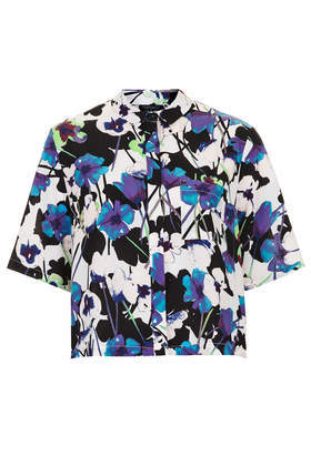 Poppy Shadow Print Short Sleeve Shirt - neckline: shirt collar/peter pan/zip with opening; length: cropped; style: shirt; occasions: casual, evening, creative work; fibres: polyester/polyamide - 100%; fit: straight cut; predominant colour: multicoloured; sleeve length: half sleeve; sleeve style: standard; pattern type: fabric; pattern size: standard; pattern: florals; texture group: other - light to midweight; trends: furious florals; season: s/s 2014; multicoloured: multicoloured