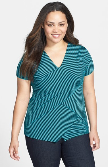 Fine Stripe Bandage Top (Plus Size) - neckline: v-neck; pattern: striped; style: wrap/faux wrap; secondary colour: navy; predominant colour: turquoise; occasions: casual; length: standard; fibres: viscose/rayon - stretch; fit: body skimming; sleeve length: short sleeve; sleeve style: standard; texture group: jersey - clingy; pattern type: fabric; pattern size: standard; season: s/s 2014