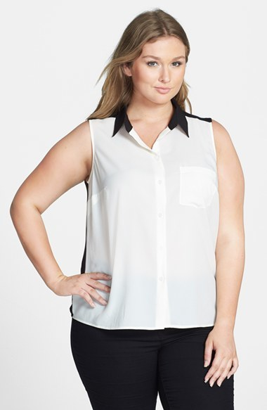Colorblock Mixed Media Blouse (Plus Size) - neckline: shirt collar/peter pan/zip with opening; sleeve style: sleeveless; style: blouse; predominant colour: white; secondary colour: black; occasions: casual, work, creative work; length: standard; fibres: polyester/polyamide - 100%; fit: straight cut; sleeve length: sleeveless; texture group: silky - light; pattern type: fabric; pattern size: light/subtle; pattern: colourblock; season: s/s 2014; trends: monochrome; embellishment: contrast fabric; embellishment location: shoulder
