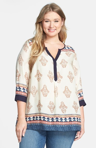 'tinsley' Tunic (Plus Size) - neckline: v-neck; length: below the bottom; style: tunic; occasions: casual; fibres: viscose/rayon - 100%; fit: loose; predominant colour: multicoloured; sleeve length: 3/4 length; sleeve style: standard; pattern type: fabric; pattern size: standard; pattern: patterned/print; texture group: woven light midweight; trends: world traveller; season: s/s 2014; multicoloured: multicoloured; embellishment: contrast fabric; embellishment location: shoulder