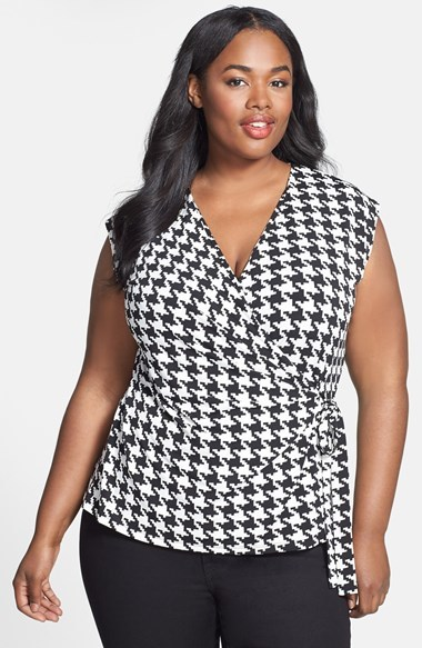 Houndstooth Print Wrap Top (Plus Size) - neckline: v-neck; sleeve style: capped; style: wrap/faux wrap; waist detail: belted waist/tie at waist/drawstring; secondary colour: white; predominant colour: black; occasions: casual, creative work; length: standard; fibres: polyester/polyamide - stretch; fit: body skimming; pattern: dogtooth; sleeve length: sleeveless; texture group: jersey - clingy; pattern type: fabric; pattern size: standard; season: s/s 2014; wardrobe: highlight