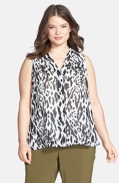 Print Sleeveless V Neck Top (Plus Size) - neckline: v-neck; sleeve style: sleeveless; secondary colour: white; predominant colour: black; occasions: casual, creative work; length: standard; style: top; fibres: polyester/polyamide - 100%; fit: loose; back detail: longer hem at back than at front; sleeve length: sleeveless; texture group: sheer fabrics/chiffon/organza etc.; pattern type: fabric; pattern size: standard; pattern: animal print; season: s/s 2014; trends: monochrome