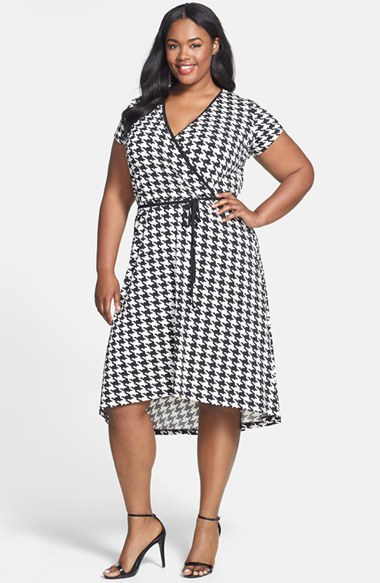 Houndstooth Print Cap Sleeve Faux Wrap Dress (Plus Size) - style: faux wrap/wrap; length: below the knee; neckline: v-neck; fit: empire; waist detail: belted waist/tie at waist/drawstring; secondary colour: white; predominant colour: black; occasions: casual, creative work; fibres: polyester/polyamide - stretch; hip detail: subtle/flattering hip detail; pattern: dogtooth; sleeve length: short sleeve; sleeve style: standard; pattern type: fabric; pattern size: standard; texture group: jersey - stretchy/drapey; season: s/s 2014; trends: monochrome