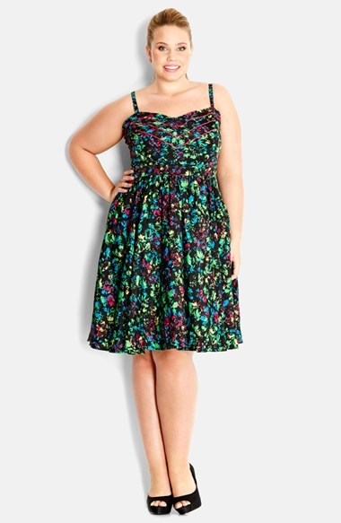 'rainbow Bloom' Floral Print Sundress (Plus Size) - sleeve style: spaghetti straps; fit: empire; style: sundress; neckline: sweetheart; waist detail: flattering waist detail; bust detail: subtle bust detail; occasions: casual, evening; length: on the knee; fibres: polyester/polyamide - 100%; hip detail: subtle/flattering hip detail; predominant colour: multicoloured; sleeve length: sleeveless; pattern type: fabric; pattern size: standard; pattern: florals; texture group: other - light to midweight; season: s/s 2014; multicoloured: multicoloured