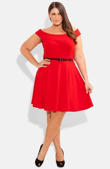 'bridgette' Belted Skater Dress (Plus Size) - neckline: off the shoulder; sleeve style: capped; pattern: plain; waist detail: belted waist/tie at waist/drawstring; predominant colour: true red; occasions: evening; length: just above the knee; fit: fitted at waist & bust; style: fit & flare; fibres: viscose/rayon - stretch; hip detail: subtle/flattering hip detail; sleeve length: short sleeve; pattern type: fabric; texture group: jersey - stretchy/drapey; season: s/s 2014