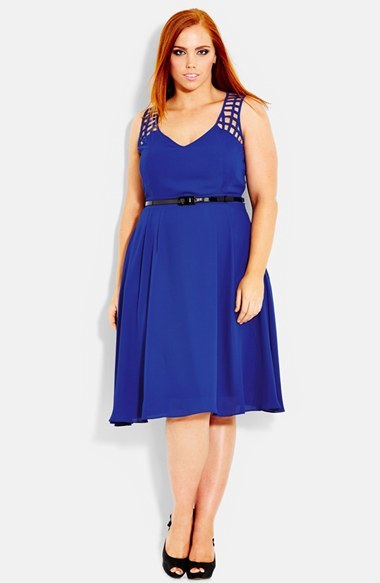 'cross Hatch' Sleeveless Chiffon Dress (Plus Size) - sleeve style: wide vest straps; style: tea dress; length: below the knee; neckline: low v-neck; fit: empire; pattern: plain; waist detail: belted waist/tie at waist/drawstring; predominant colour: royal blue; occasions: evening, occasion; fibres: polyester/polyamide - 100%; hip detail: soft pleats at hip/draping at hip/flared at hip; shoulder detail: added shoulder detail; sleeve length: sleeveless; texture group: sheer fabrics/chiffon/organza etc.; pattern type: fabric; trends: hot brights; season: s/s 2014