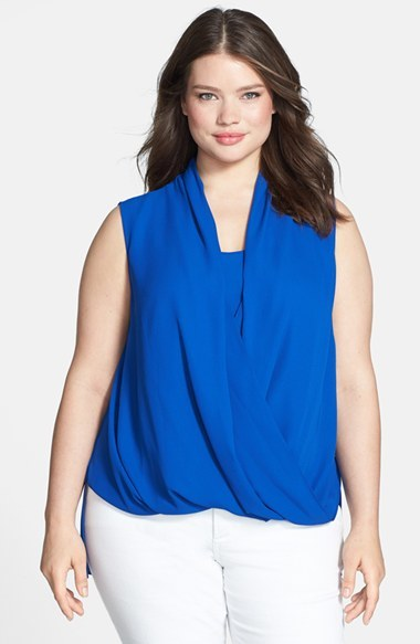 Sleeveless Wrap Front Shirttail Blouse (Plus Size) - neckline: v-neck; pattern: plain; sleeve style: sleeveless; style: blouson; hip detail: fitted at hip; predominant colour: royal blue; occasions: casual, creative work; length: standard; fibres: polyester/polyamide - 100%; fit: straight cut; back detail: longer hem at back than at front; sleeve length: sleeveless; texture group: crepes; pattern type: fabric; trends: hot brights; season: s/s 2014