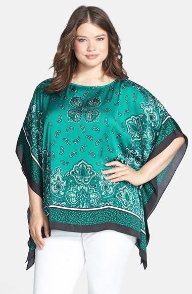 'kerchief Past' Print Flutter Top (Plus Size) - neckline: slash/boat neckline; sleeve style: angel/waterfall; length: below the bottom; predominant colour: emerald green; secondary colour: dark green; occasions: casual; style: top; fibres: polyester/polyamide - 100%; fit: loose; sleeve length: 3/4 length; texture group: silky - light; pattern type: fabric; pattern size: standard; pattern: patterned/print; season: s/s 2014