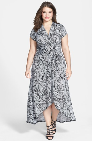 Cap Sleeve Print Faux Wrap Maxi Dress (Plus Size) - length: below the knee; neckline: v-neck; fit: empire; pattern: paisley; waist detail: belted waist/tie at waist/drawstring; secondary colour: charcoal; predominant colour: light grey; occasions: casual; style: asymmetric (hem); fibres: polyester/polyamide - stretch; hip detail: soft pleats at hip/draping at hip/flared at hip; back detail: longer hem at back than at front; sleeve length: short sleeve; sleeve style: standard; pattern type: fabric; pattern size: standard; texture group: jersey - stretchy/drapey; season: s/s 2014; trends: monochrome
