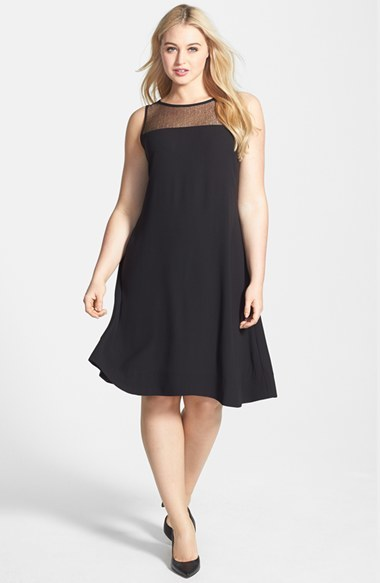 Sleeveless Lace Yoke Silk Shift Dress (Plus Size) - neckline: slash/boat neckline; pattern: plain; sleeve style: sleeveless; predominant colour: black; occasions: evening, occasion, creative work; length: on the knee; fit: fitted at waist & bust; style: fit & flare; fibres: silk - mix; hip detail: subtle/flattering hip detail; sleeve length: sleeveless; pattern type: fabric; texture group: other - light to midweight; season: s/s 2014; wardrobe: highlight; embellishment: contrast fabric; embellishment location: shoulder