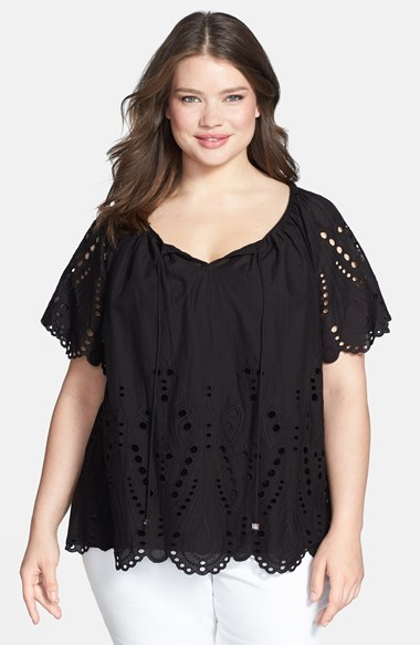 Miichael Michael Kors Tie Front Eyelet Cotton Peasant Top (Plus Size) - sleeve style: raglan; pattern: plain; length: below the bottom; bust detail: subtle bust detail; predominant colour: black; occasions: casual; style: top; neckline: peep hole neckline; fibres: cotton - 100%; fit: loose; shoulder detail: subtle shoulder detail; sleeve length: short sleeve; pattern type: fabric; embellishment: embroidered; texture group: broiderie anglais; season: s/s 2014; wardrobe: highlight