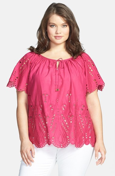 Miichael Michael Kors Tie Front Eyelet Cotton Peasant Top (Plus Size) - sleeve style: raglan; pattern: plain; bust detail: subtle bust detail; predominant colour: hot pink; occasions: casual; length: standard; style: top; neckline: peep hole neckline; fibres: cotton - 100%; fit: loose; shoulder detail: subtle shoulder detail; sleeve length: short sleeve; pattern type: fabric; embellishment: embroidered; texture group: broiderie anglais; season: s/s 2014; wardrobe: highlight