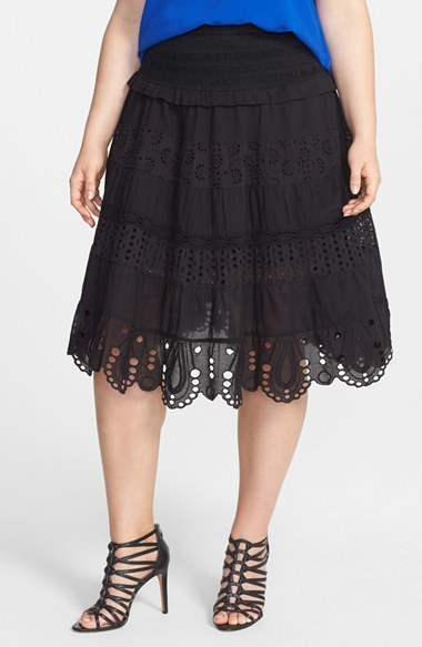 Smocked Tiered Eyelet Cotton Midi Skirt (Plus Size) - length: below the knee; pattern: plain; fit: loose/voluminous; waist detail: elasticated waist; style: tiered; waist: mid/regular rise; predominant colour: black; occasions: casual; fibres: cotton - 100%; hip detail: adds bulk at the hips; pattern type: fabric; embellishment: embroidered; texture group: broiderie anglais; season: s/s 2014; wardrobe: highlight; embellishment location: all over