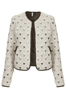 Beaded Embellished Jacket - style: single breasted blazer; collar: round collar/collarless; predominant colour: ivory/cream; secondary colour: silver; occasions: casual, evening, occasion, creative work; length: standard; fit: straight cut (boxy); fibres: cotton - 100%; sleeve length: long sleeve; sleeve style: standard; collar break: high; pattern type: fabric; pattern: colourblock; texture group: woven light midweight; embellishment: beading; trends: summer sparkle, shimmery metallics; season: s/s 2014