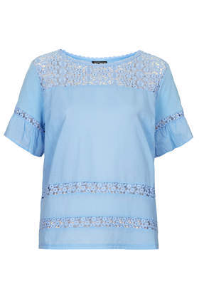 Pretty Hybrid Panel Top - neckline: round neck; pattern: plain; style: t-shirt; predominant colour: pale blue; occasions: casual, holiday, creative work; length: standard; fibres: cotton - 100%; fit: straight cut; sleeve length: short sleeve; sleeve style: standard; texture group: cotton feel fabrics; pattern type: fabric; trends: sorbet shades, lace; season: s/s 2014; embellishment: contrast fabric; embellishment location: back