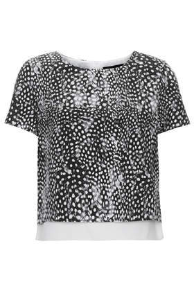 Petite Feather Print Top - neckline: round neck; length: cropped; style: t-shirt; secondary colour: ivory/cream; predominant colour: black; occasions: casual, evening, creative work; fibres: polyester/polyamide - 100%; fit: straight cut; sleeve length: short sleeve; sleeve style: standard; pattern type: fabric; pattern: patterned/print; texture group: other - light to midweight; season: s/s 2014; trends: monochrome; pattern size: big & busy (top)