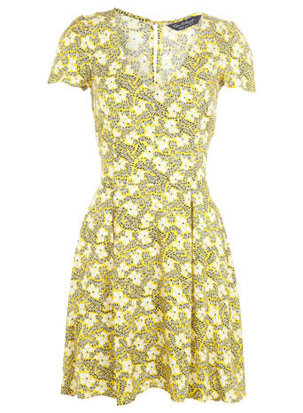 Squiggle Print Tea Dress - style: tea dress; length: mid thigh; neckline: low v-neck; predominant colour: primrose yellow; occasions: casual; fit: fitted at waist & bust; fibres: viscose/rayon - 100%; sleeve length: short sleeve; sleeve style: standard; pattern type: fabric; pattern: florals; texture group: woven light midweight; season: s/s 2014