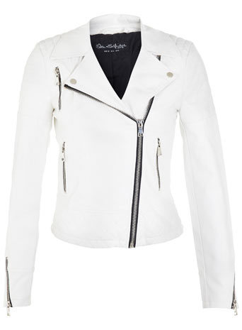 White Faux Leather Biker - pattern: plain; style: biker; collar: asymmetric biker; predominant colour: white; secondary colour: black; occasions: casual, evening, creative work; length: standard; fit: tailored/fitted; sleeve length: long sleeve; sleeve style: standard; texture group: leather; collar break: high/illusion of break when open; pattern type: fabric; fibres: pvc/polyurethene - 100%; season: s/s 2014