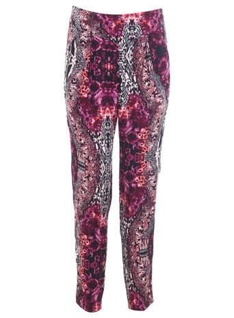 Snake Print Trouser - length: standard; waist: mid/regular rise; predominant colour: hot pink; secondary colour: charcoal; occasions: casual; fibres: viscose/rayon - 100%; fit: straight leg; pattern type: fabric; pattern: patterned/print; texture group: woven light midweight; style: standard; trends: art-party prints; season: s/s 2014; pattern size: big & busy (bottom)