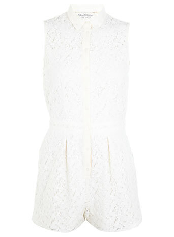Cream Lace Shirt Playsuit - fit: fitted at waist; sleeve style: sleeveless; length: short shorts; predominant colour: ivory/cream; occasions: casual, evening; fibres: polyester/polyamide - 100%; neckline: no opening/shirt collar/peter pan; hip detail: subtle/flattering hip detail; sleeve length: sleeveless; texture group: lace; style: playsuit; pattern type: fabric; pattern: patterned/print; trends: lace; season: s/s 2014