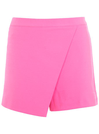 Pink Wrap Skort - length: mini; pattern: plain; fit: tailored/fitted; style: skorts; waist: high rise; hip detail: draws attention to hips; predominant colour: pink; occasions: casual, evening, holiday, creative work; fibres: polyester/polyamide - 100%; waist detail: feature waist detail; texture group: crepes; pattern type: fabric; trends: hot brights; season: s/s 2014