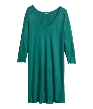 + Jersey Tunic - pattern: plain; style: tunic; predominant colour: emerald green; occasions: casual, creative work; neckline: scoop; fibres: viscose/rayon - 100%; fit: body skimming; length: mid thigh; sleeve length: 3/4 length; sleeve style: standard; pattern type: fabric; texture group: jersey - stretchy/drapey; season: s/s 2014