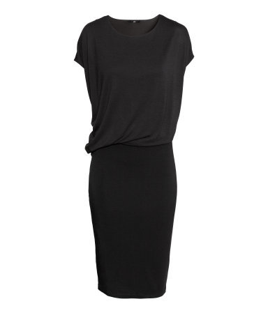 Draped Dress - style: shift; length: calf length; pattern: plain; waist detail: twist front waist detail/nipped in at waist on one side/soft pleats/draping/ruching/gathering waist detail; predominant colour: black; occasions: casual, evening, creative work; fit: body skimming; fibres: viscose/rayon - 100%; neckline: crew; sleeve length: short sleeve; sleeve style: standard; pattern type: fabric; texture group: jersey - stretchy/drapey; season: s/s 2014