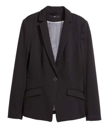 Jersey Jacket - pattern: plain; style: single breasted blazer; collar: standard lapel/rever collar; predominant colour: black; occasions: evening, work, creative work; length: standard; fit: tailored/fitted; fibres: polyester/polyamide - stretch; sleeve length: long sleeve; sleeve style: standard; collar break: medium; texture group: jersey - stretchy/drapey; season: s/s 2014